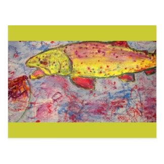 trout bum art postcard