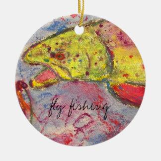 trout bum design ceramic ornament