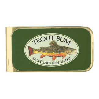 Trout Bum Fisherman, Angler Gold Finish Money Clip