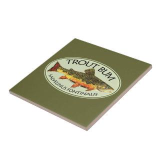 Trout Bum Fishing Ceramic Tile