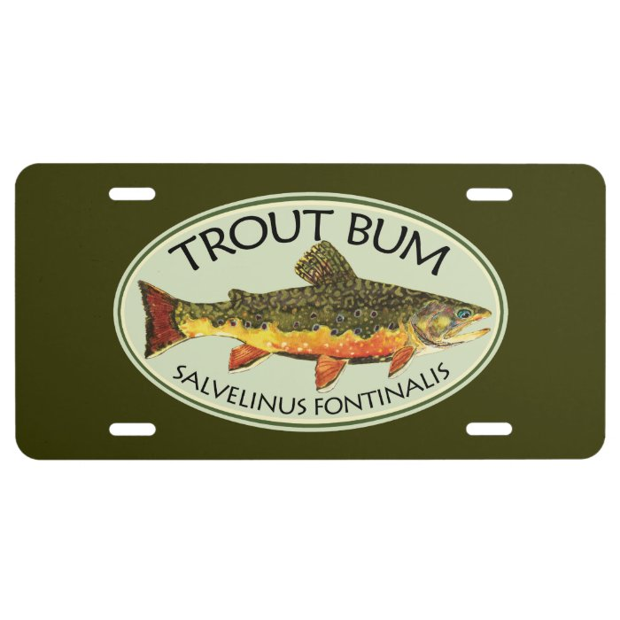 Trout bum fishing license plate zazzle for Fishing license plate