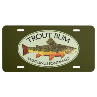Trout Bum Fishing License Plate