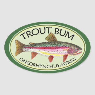 Trout Bum Fishing Oval Sticker