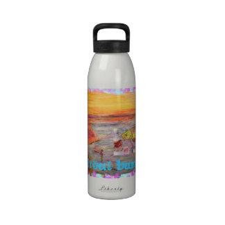 trout bum sunset reusable water bottle