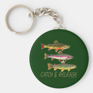 Trout Catch and Release Basic Round Button Keychain