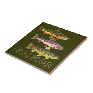 Trout Catch and Release Ceramic Tile