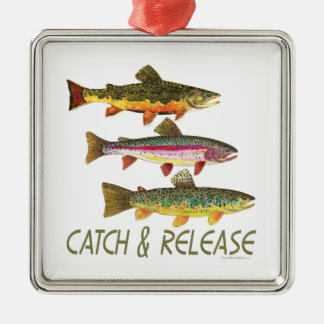 Trout Catch and Release Metal Ornament