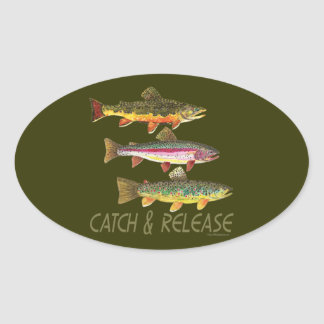 Trout Catch and Release Oval Sticker
