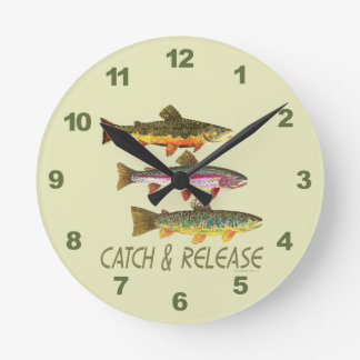Trout Catch and Release Round Clock