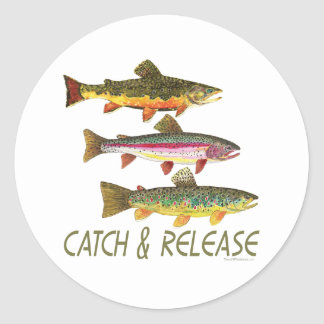 Trout Catch and Release Round Sticker