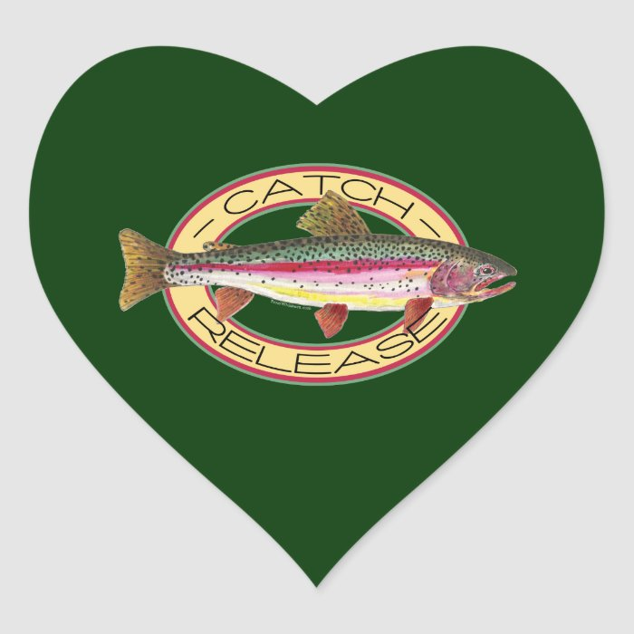 Trout Catch & Release Fishing Heart Sticker