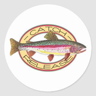 Trout Catch & Release Fishing Round Sticker