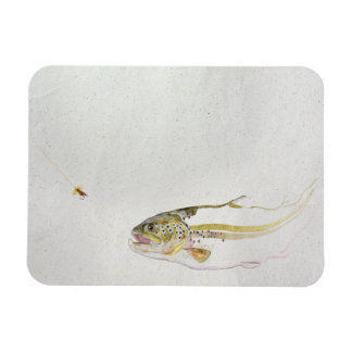 Trout chasing a fisherman's fly rectangular photo magnet