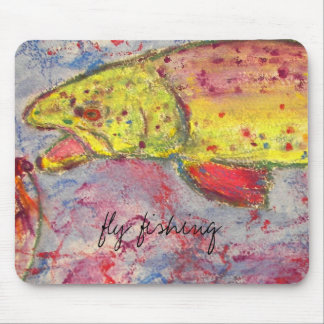 trout chasing fly design mouse pad