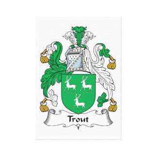 Trout Family Crest Stretched Canvas Print