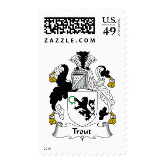 Trout Family Crest Postage Stamps