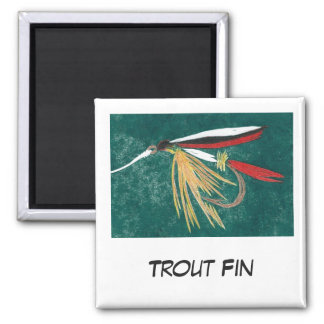 """Trout Fin"" Fly Fishing Art Magnet"