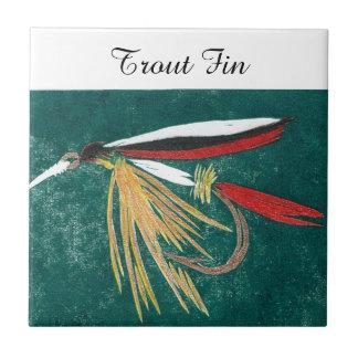 """Trout Fin"" wet fly tile. Tile"