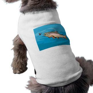 trout fish eying a bait lure dog tshirt
