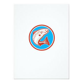 Trout Fish Jumping Circle Retro 5.5x7.5 Paper Invitation Card