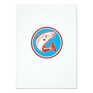 Trout Fish Jumping Circle Retro 4.5x6.25 Paper Invitation Card