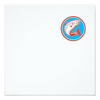 Trout Fish Jumping Circle Retro 5.25x5.25 Square Paper Invitation Card