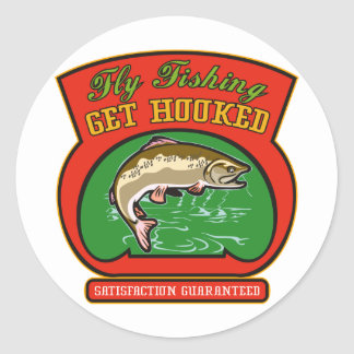 trout fish jumping fly fishing round stickers