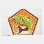 Trout Fish Jumping Retro Hand Towels