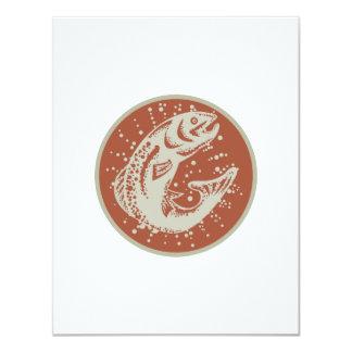 Trout Fish Jumping Retro 4.25x5.5 Paper Invitation Card