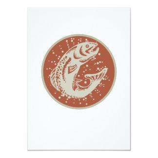 Trout Fish Jumping Retro 4.5x6.25 Paper Invitation Card