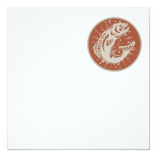 Trout Fish Jumping Retro 5.25x5.25 Square Paper Invitation Card