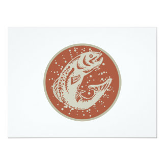 Trout Fish Jumping Retro 6.5x8.75 Paper Invitation Card