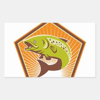 Trout Fish Jumping Retro Rectangular Sticker