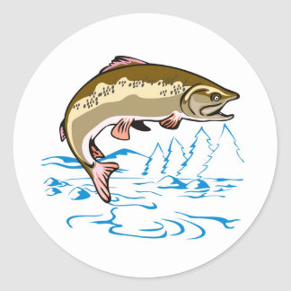 trout fish jumping round sticker
