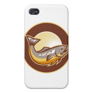Trout Fish Jumping Sunburst Circle iPhone 4/4S Cases
