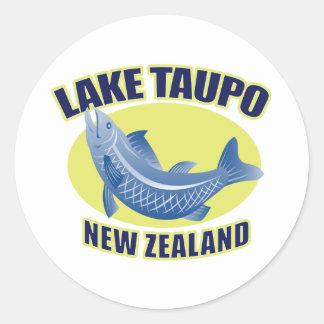 Trout fish lake taupo new zealand round stickers