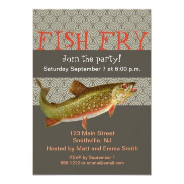 Beach Themed Trout Fish Party Invitation Customizable Template