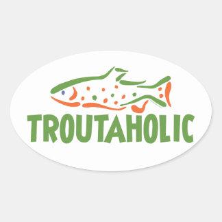 Trout Fisherman Fishing Oval Sticker