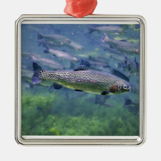 Trout fishermens gifts square metal christmas ornament