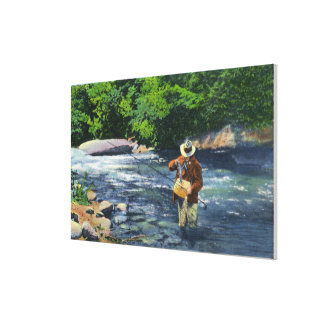 Trout Fishing at Catherine s Creek Stretched Canvas Print