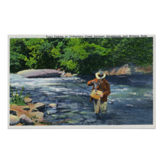 Trout Fishing at Catherine's Creek Poster