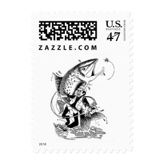 Trout Fishing Cartoon Postage