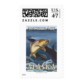 Trout Fishing Cross-Section - Anchorage, Alaska Postage