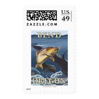 Trout Fishing Cross-Section - Bend, Oregon Stamps