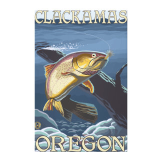 Trout Fishing Cross-Section - Clackamas Stretched Canvas Prints