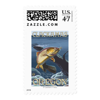 Trout Fishing Cross-Section - Clackamas, Postage Stamp