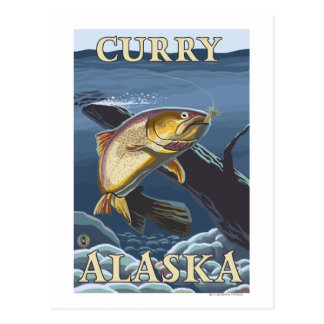 Trout Fishing Cross-Section - Curry, Alaska Postcard