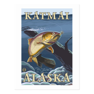 Trout Fishing Cross-Section - Katmai, Alaska Post Cards