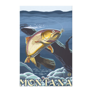 Trout Fishing Cross-Section - Montana Stretched Canvas Prints