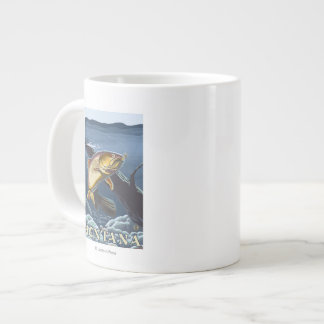 Trout Fishing Cross-Section - Montana Giant Coffee Mug